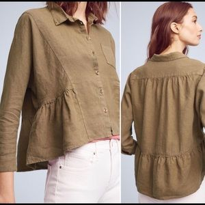 Anthropologie Holding Horses Linen Top Button Up